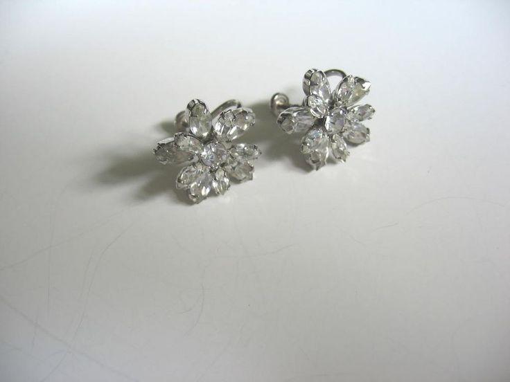 Vintage 2 Pair Signed Sherman Rhinestone Earrings Aurora Borealis