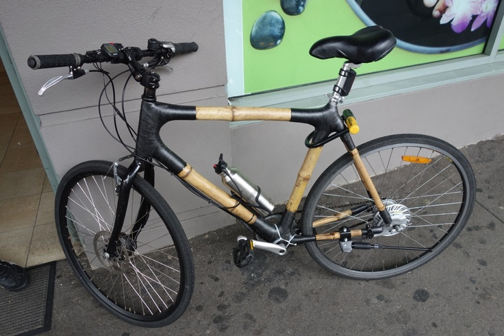 Bamboo bike frame finally built up, with light weight electric hub motor up front.Check it out at sydneyelectricbikes.com.au