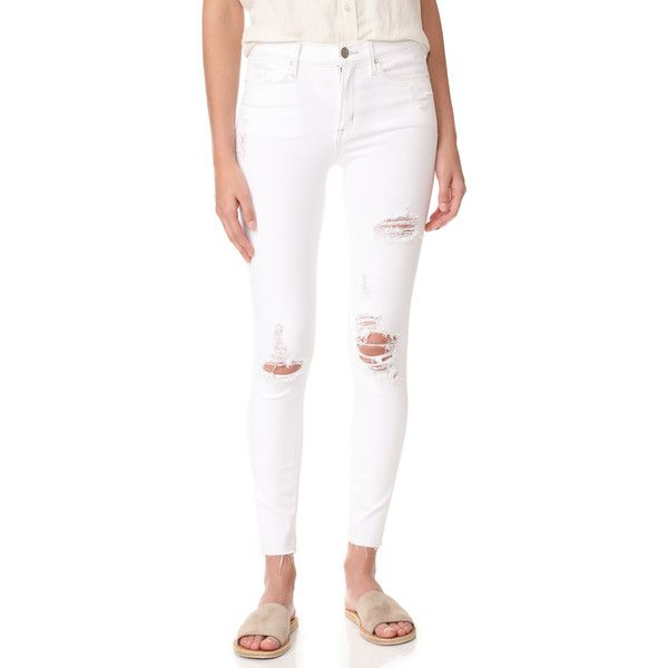 AYR The Skinny Jeans (€175) ❤ liked on Polyvore featuring jeans, white, ripped skinny jeans, cuffed skinny jeans, white skinny jeans, white destroyed jeans and ripped jeans