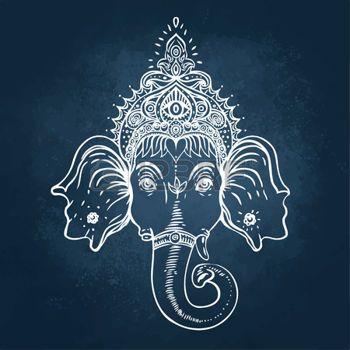 ganesha art: Hindu Lord Ganesha over ornate colorful mandala. Vector illustration. Illustration