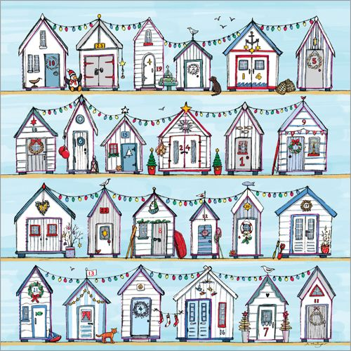 ADV28 Beach Huts Advent Calendar by Phoenix Trading. Open a window each day to see what is behind. Only £5.50 and can be ordered at www.nichola.cards