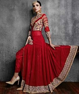 Buy Red Faux Georgette Designer Anarkali Suit 72729 online at lowest price from huge collection of salwar kameez at Indianclothstore.com.