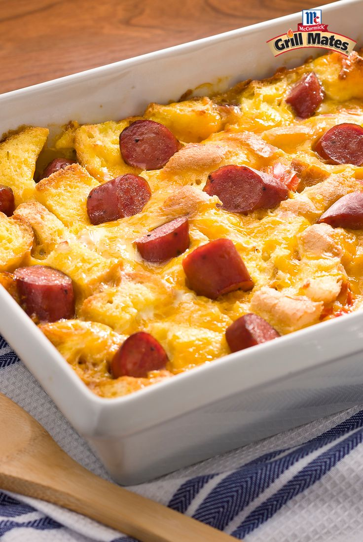 Wake up to a next-level breakfast casserole. It's got everything required for a bold brunch dish: Grill Mates Brown Sugar Bourbon Smoked Sausages, eggs, cheddar cheese, French bread cubes and more. Dig. On. In. to this easy casserole recipe.