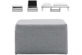 Xtra footstool with sleeping function, the product is available in different fabrics. This clever product transforms from a footstool into a single bed in three very easy movements. A must have for every small apartment.