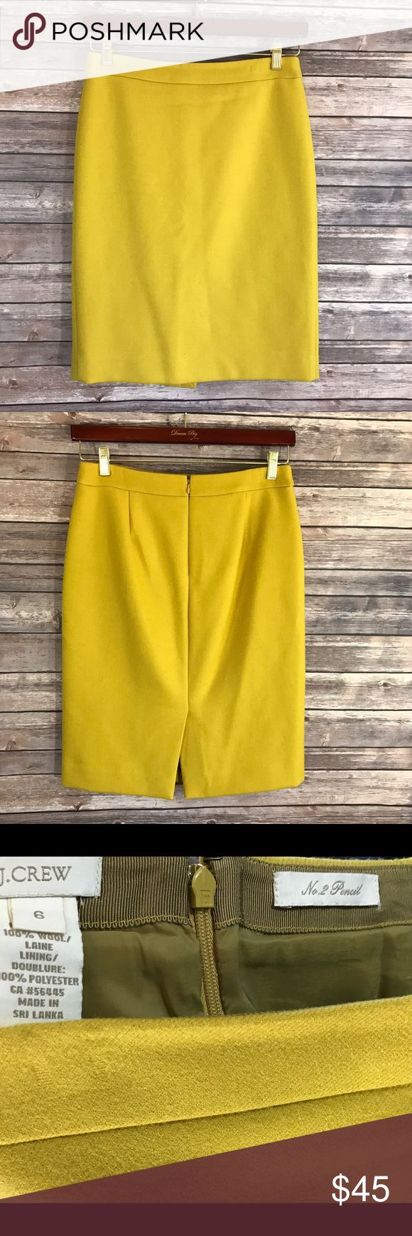 J Crew No 2 Pencil Skit in Double Serge Wool J Crew No 2 Pencil Skit in Double Serge Wool Mustard Yellow Size 6 Knee Length. Measurements: In inches Waist: 31 Length: 23.5 J. Crew Skirts Pencil