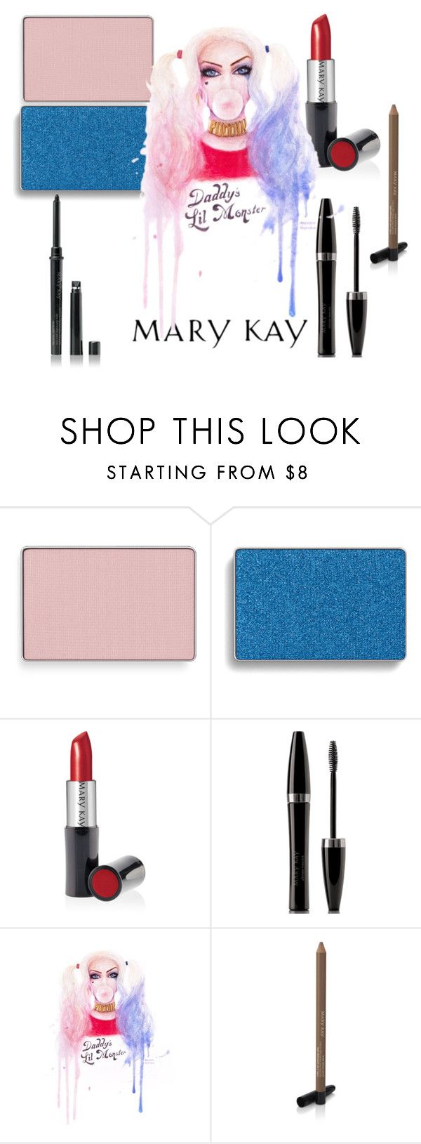 """""""Harley Quinn Mary Kay color"""" by taylormarie213 ❤ liked on Polyvore featuring beauty, Mary Kay, Marykay, cosplay, harleyquinn and SuicideSquad"""