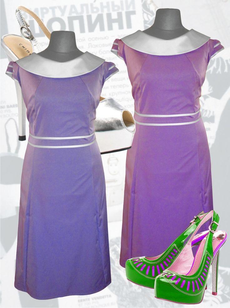 50$ Cтильное нарядное платье для полных девушек с атласным воротником сиреневого и сиренево-розового цвета Артикул 589, р50-64