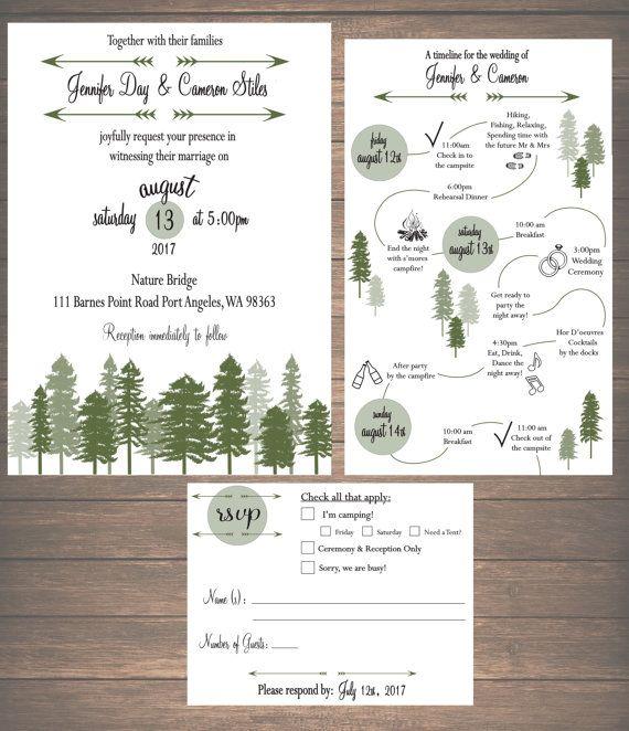 Printable Mountain Weekend Wedding Invitation Kit  by ZSDesign