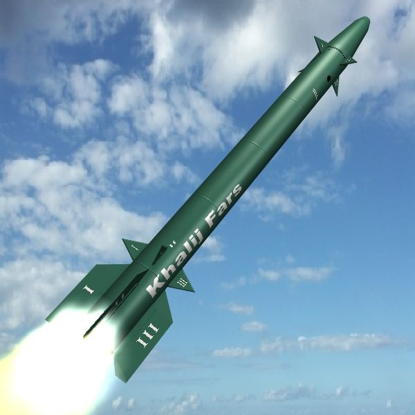"""Iranian Khalij Fars Cruise Missile 3D Model- Based on the Iranian developed Fetah 110, the Khalij Fars or """"Persian Gulf"""" missile was first demonstrated in February 2011. Using solid fuel propellant, the guided, single stage ballistic cruise missile is reported to fly at Mach 3 and at an estimated range up to 300km.    - Nose fins adjustable for animations.  - 2k  texture map & bump map for body.  - 1k texture maps for fins - #3D_model #Other Military,#Weapons 3D Models,#Missile"""