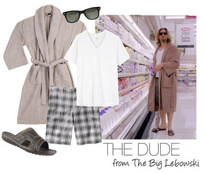 Easy, Last-Minute Halloween Costume Idea from Great American Country: The Dude from The Big Lebowski http://blog.gactv.com/blog/2014/10/25/easy-last-minute-halloween-costumes-for-men-and-women/?soc=pinterest
