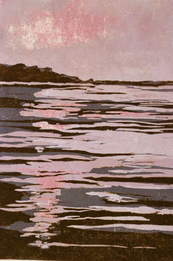 Breakwater, original woodblock print