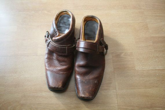 Vintage Brown Leather Harness Slides // Frye Style Leather Shoes // Leather Clogs Mules // Women's Size 9.5 Made in USA