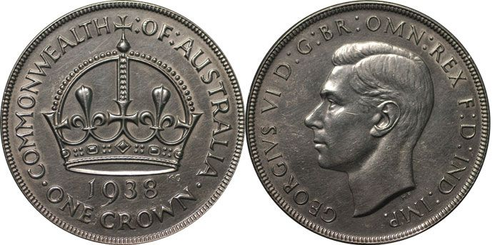 Australia's only commemorative Crown design, this coin was issued in honour of King George VI's coronation in 1937.