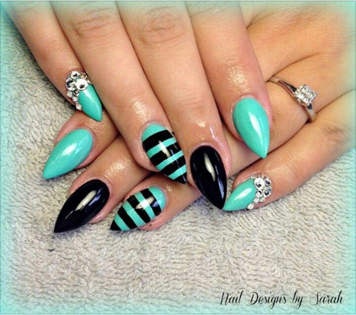 Teal & Black Stiletto Nails