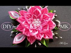 Цветок канзаши, МК / D.I.Y. Kanzashi flower / Ribbon flower tutorial - YouTube