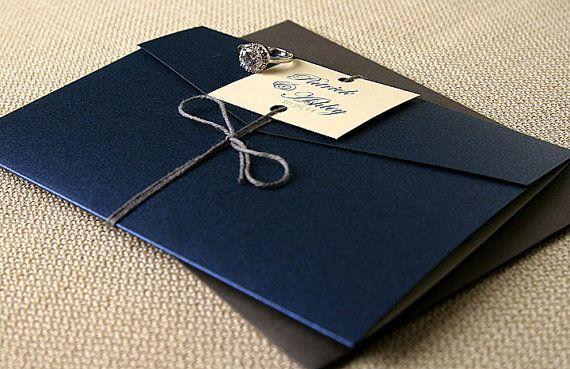 Ashley Pocket Wedding Invitation Suite Navy di ComplementaryDesign