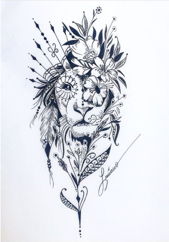 Tatuagem Feminina Leão – Mais de 120 Modelos – Ideias de Tatuagens   – Tattoo Inspirations