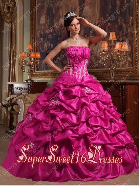 Fuchsia Ball Gown Strapless With Floor-length Appliques Taffeta Sweet 16 Ball Gowns