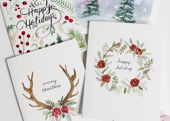 5 Diy Holiday Card Watercolour Tutorials Wonder Forest Diy Holiday Cards Watercolor Holiday Cards Watercolor Christmas Cards Diy