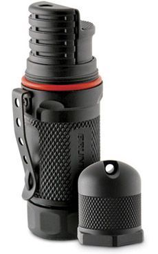 Brunton Butane Lighter...I have this and it is AWESOME!  Basically a BLOW TORCH in your pocket ;) Blake