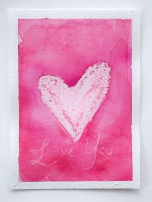 White crayon watercolor resist valentine - so simple, but so pretty...