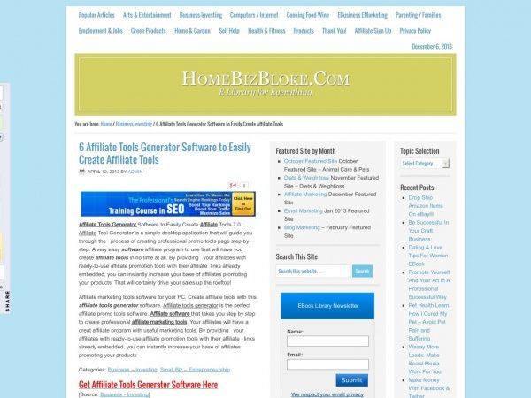 Affiliate Tools Generator Software to Easily Create Affiliate Tools 7 0. Affiliate Tool Generator is a simple desktop application that will guide you through the   process of creating professional promo tools page step-by-step. A very easy software affiliate program to use that will have you create affiliate tools in no time at all.