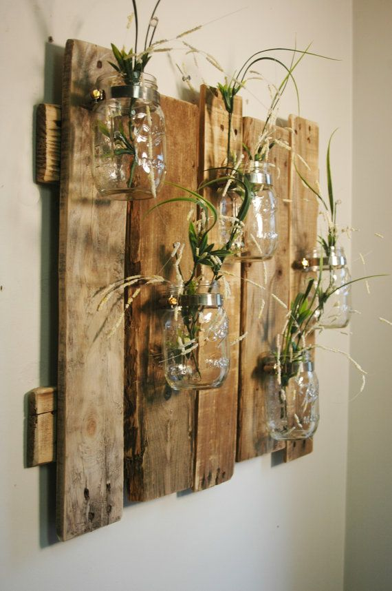 Unique large wall piece with Clear Mason Jars wall decor ...