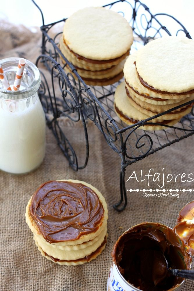Alfajores, also known as dulce de leche sandwich cookies, are traditional shortbread cookies with a dulce de leche filling. Recipe from Roxanashomebaking.com - Yum!