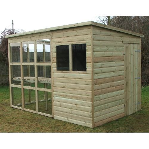pent greenhouse potting shed combo