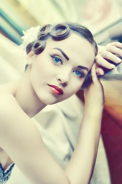 Pin curls (love the colors in this shot)