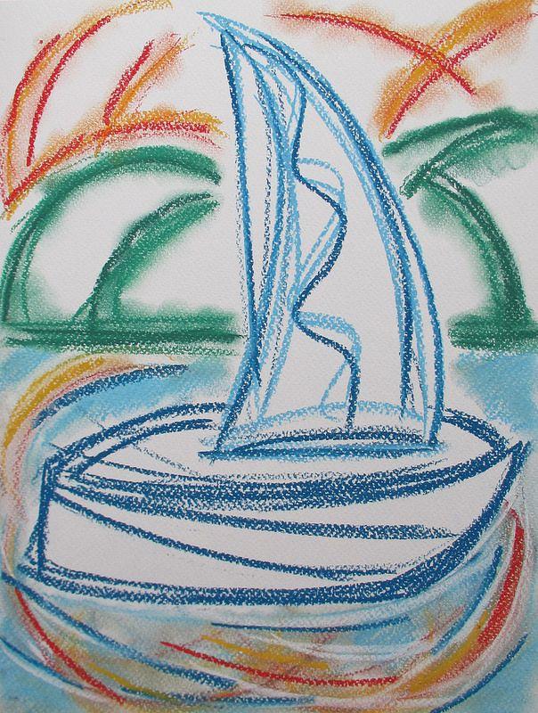 Sailing boat #art #pastels #drawing #sailing #boat #helsinki #finland #abstract #summer
