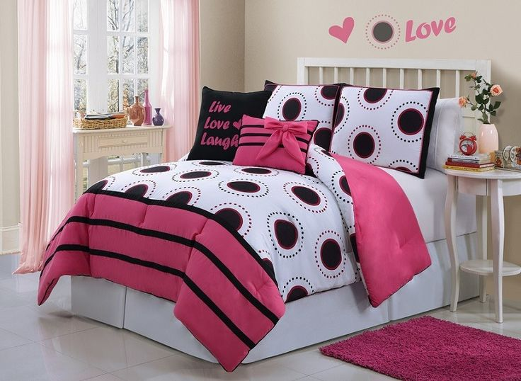 Kids Bedroom. Fascinating Design Of Girl Bedroom With Cream Coloring Wall Plus White Bed Set With Pink Black And White Bedcover With Three Variations Pillow Furthermore White Rounded Side Table With Plant And Vase.