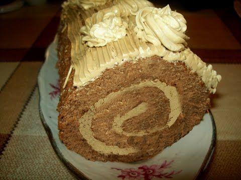 Бисквитный шоколадный рулет с кофейным кремом - YouTube