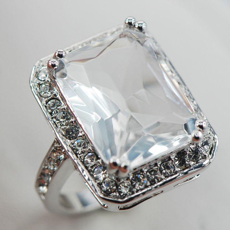 Белый сапфир белый топаз женщин 925 серебряное кольцо F889 размер 6 7 8 9 10