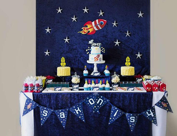 """Rockets / Outer space / Birthday """"Saxon's 4th Birthday"""" 