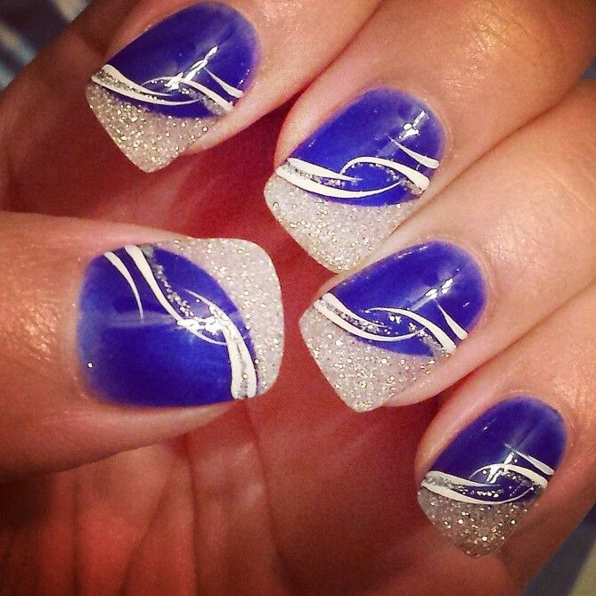 Nails, UK Wildcats,  Indianapolis Colts, blue, glitter
