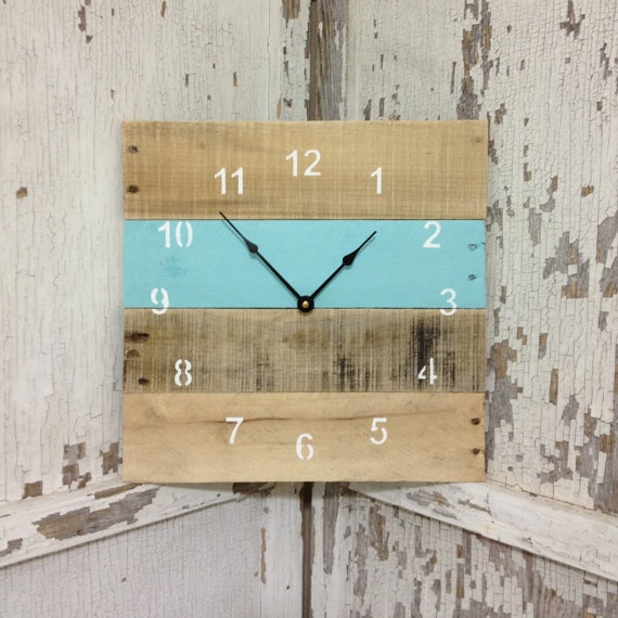 Reclaimed Pallet Wood Wall Clock Your by fieldtreasuredesigns, $45.00