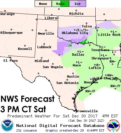 Very light freezing drizzle may cause hazardous travel conditions in portions of the Texas Panhandle, West Texas, Northwest Texas, Big Country, Texoma, North Texas, and Northeast Texas Saturday evening into Sunday morning. The freezing drizzle may spread south into the Concho Valley, Hill Country, Central Texas, Brazos Valley, and East Texas on New Year's Eve. Accumulations would be very light but may cause big problems with bridges/overpasses due to the arriving arctic airma