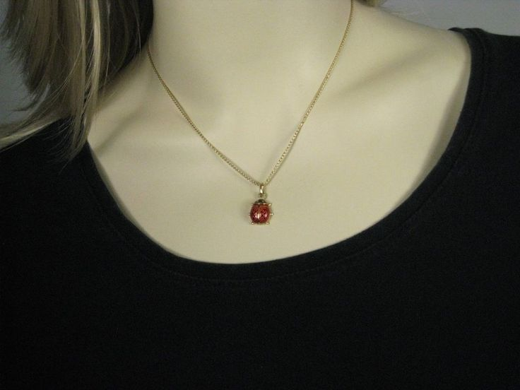 14 Kt  Yellow Gold Chain Necklace Enamel Pendant Ladybug Signed Italy #Unbranded #Pendant