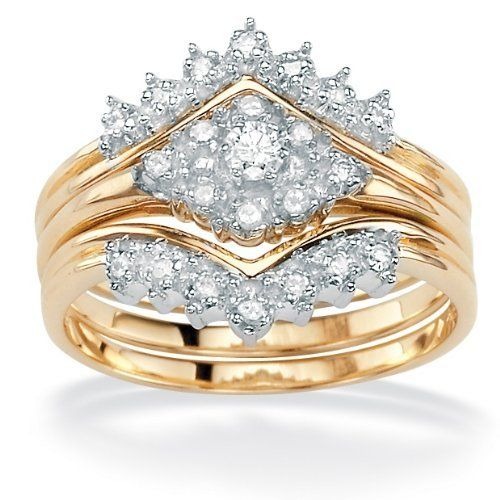 Palmbeach Jewelry 1 4 Tcw Round Diamond 10k Yellow Gold 3 Piece Bridal Engagement Ring Setswedding