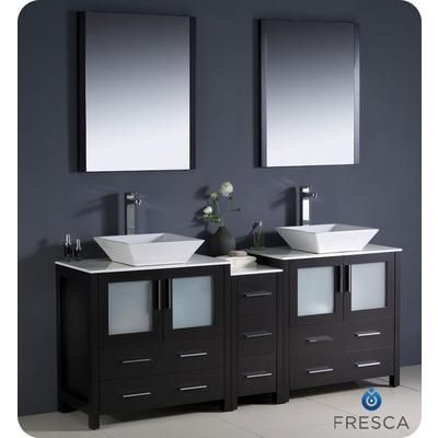 Fresca - Torino 72 Inch Espresso Modern Double Sink Bathroom Vanity With Side Cabinet And Vessel Sinks - FVN62-301230ES-VSL - Home Depot Canada