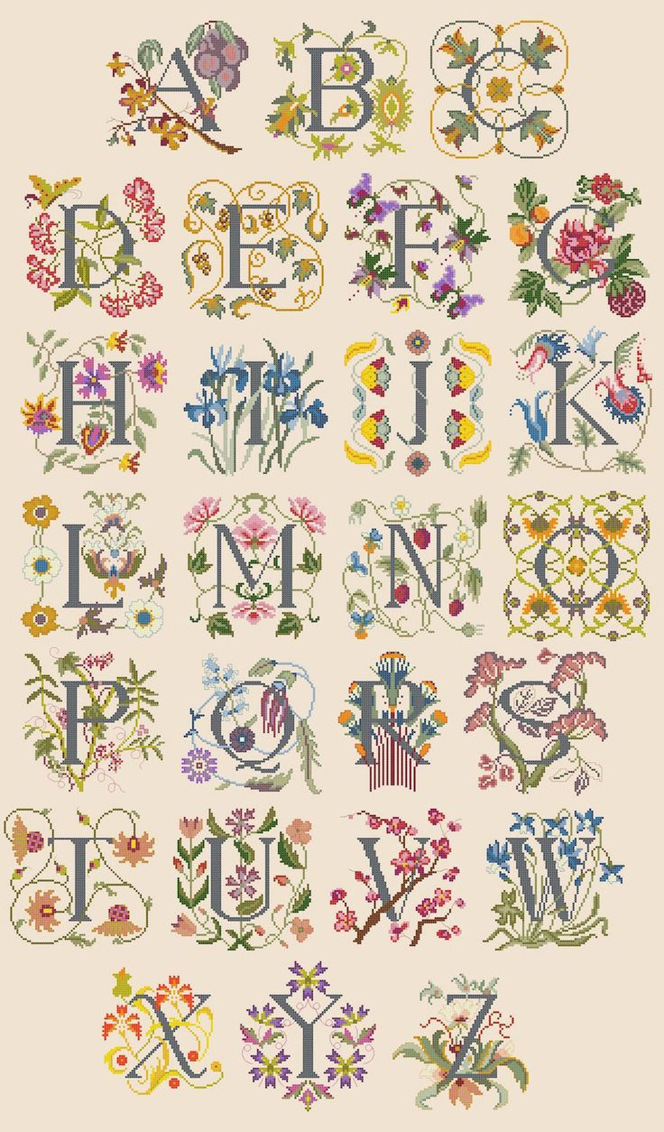 Cross stitch / Point de croix / Punto de cruz / Punto croce - alphabet / abécédaire / abecedario / alfabeto - Flowers in Art by Carol Phillipson