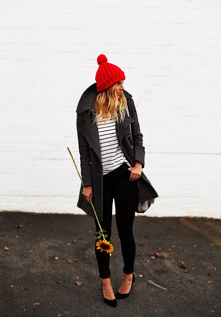 Shop this look for $201:  http://lookastic.com/women/looks/beanie-and-pea-coat-and-longsleeve-shirt-and-skinny-pants-and-heels-and-crossbody-bag/2025  — Red Beanie  — Charcoal Pea Coat  — White and Black Horizontal Striped Longsleeve Shirt  — Black Skinny Pants  — Black Suede Pumps  — Grey Leather Crossbody Bag