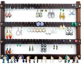 Exhibición del pendiente titular - organizador de la joyería de montaje de pared, joyería nogal peruano. 72 par madera colgante pendiente de la pantalla con 10 clavijas