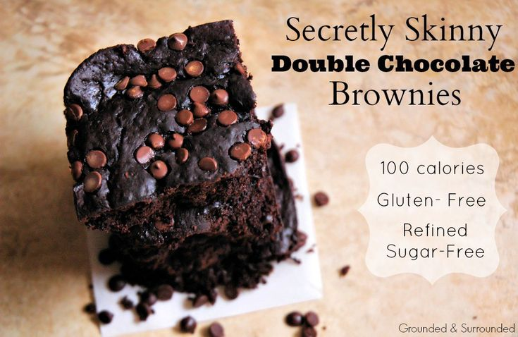 Secretly Skinny Double Chocolate Brownies   This easy gluten free and refined sugar free brownie is every bit as indulgent and healthy as they sound! At less than 100 calories per homemade brownie, you will not feel guilty indulging in these! They are definitely the real deal with their fudgey texture and from scratch ingredients. Dare I say the best low calorie brownies EVER!