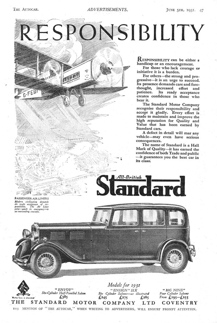 Standard envoy ensign six 6 big nine 9 motor car autocar advert 1931