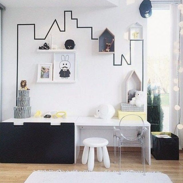 DIY washi tape on the wall. Great and easy for the kids room. Interior design.