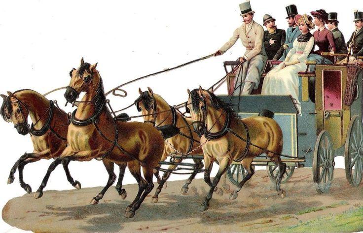 Oblaten Glanzbild scrap die cut chromo Kutsche coach  23,4 cm Pferde horse femme