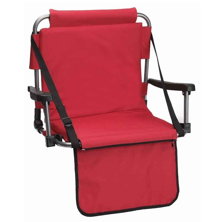 Red Stadium Bleacher Chair W/ Armrest & Padded Back by Barton Outdoors #BARTONOUTDOORS