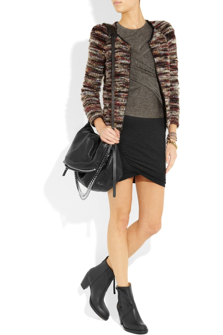 : Minis Skirts, Jersey Skirts, Zip Black, Ankle Boots, Marant Boots, Boots Zip, Longer Skirts, Isabel Marant, Acne Outfits